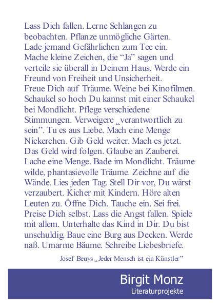 Literaturprojekte Birgit Monz - Postkarte